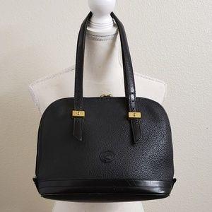 Dooney & Bourke Black Pebbled Leather Zip Satchel